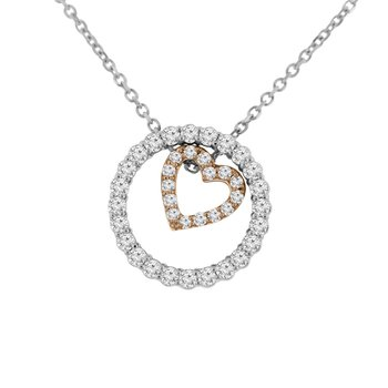 3/8ct tw NewBorn Lab Created Diamond Circle of Love Necklace in 10K White and Rose Gold
