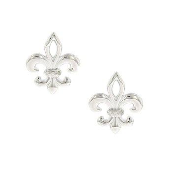 .02ct tw Diamond Fleur De Lis Earrings in Sterling Silver