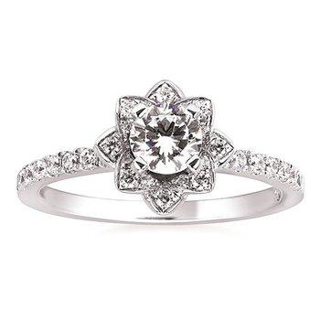 5/8ct tw NewBorn Lab Created Diamond Halo Engagement Ring in 14K White Gold