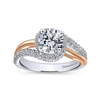 1 1/3ct tw Diamond Halo Engagement Ring in 14K White & Rose Gold