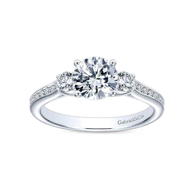 1 1/3ct tw Diamond Three Stone Engagement Ring in 14K White Gold