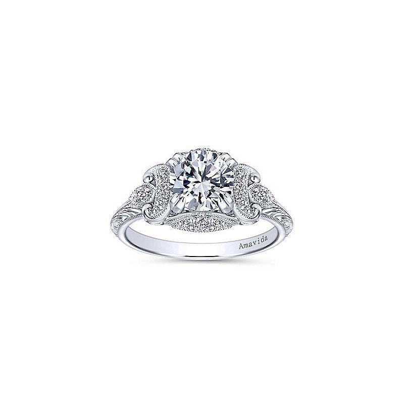 1/5ct tw Diamond Halo Engagement Ring Setting in Platinum