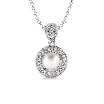 .05ct tw Diamond & Pearl Necklace in Sterling Silver