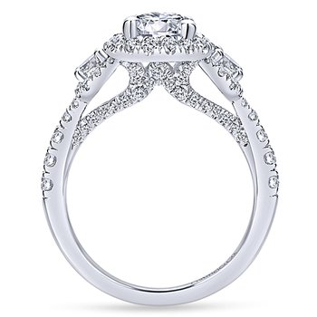 2ct tw Diamond Halo Engagement Ring in 14K White Gold