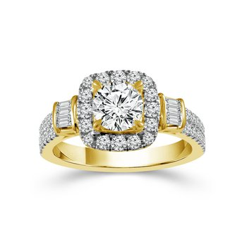 3/4ct tw Diamond Halo Engagement Ring Setting in 14K Yellow Gold
