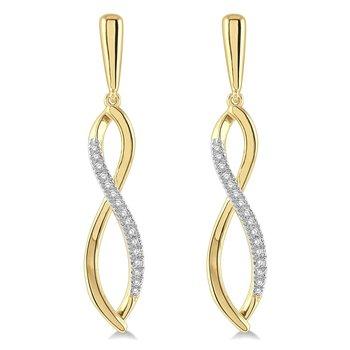 1/8ct tw Diamond Infinity Earrings in 10K Yellow Gold