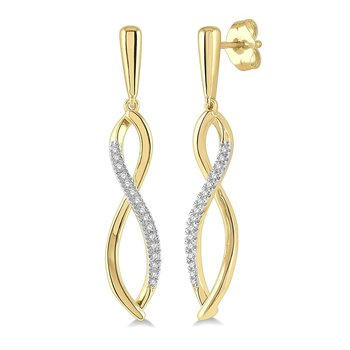 1/8ct tw Diamond Infinity Earrings in 10K Yellow Gold