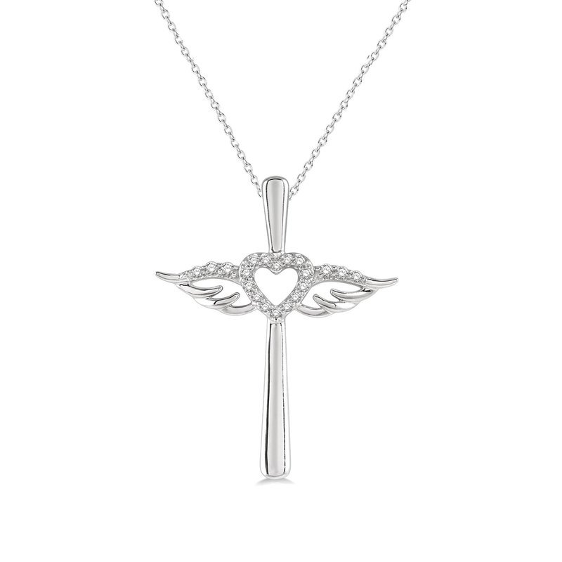 1/10ct tw Diamond Cross Necklace in 10K White Gold