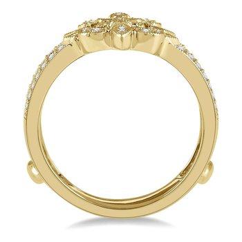 1/4ct tw Diamond Fleur De Lis Wedding Ring Guard in 14K Yellow Gold