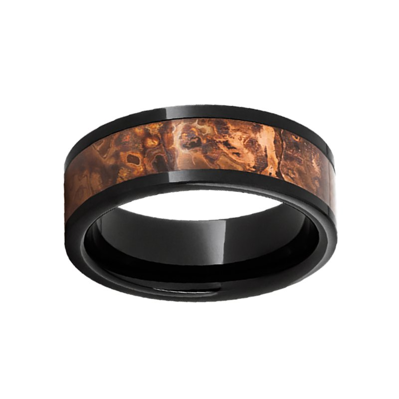 8mm Wedding Ring in Black Ceramic with Copper Inlay