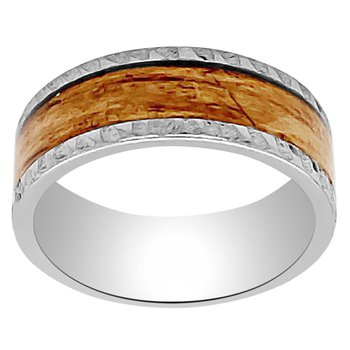 8mm Wedding Ring in Tungsten with Bourbon Wood Inlay