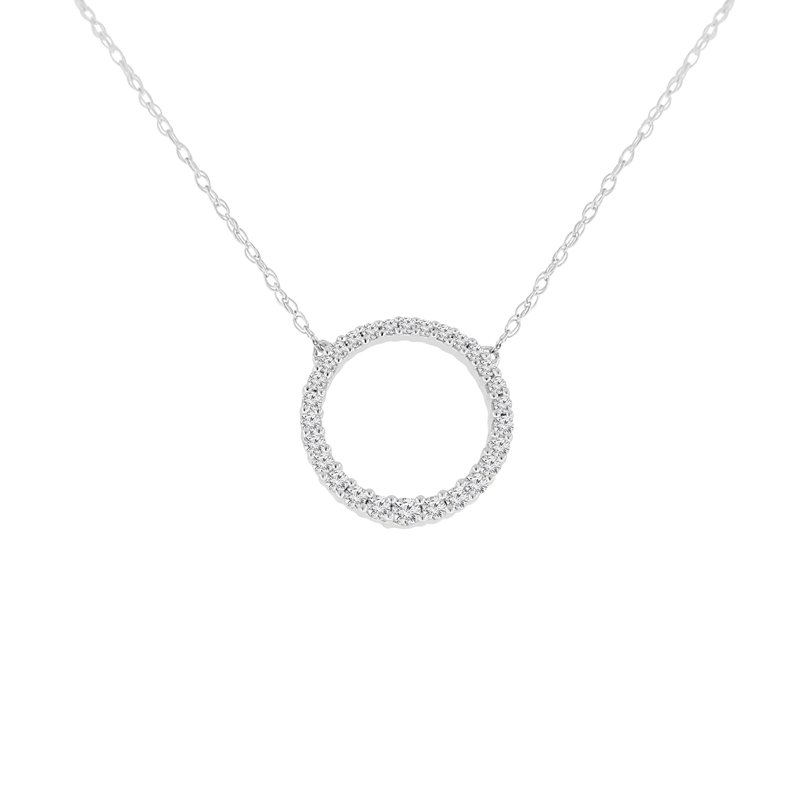 1/4ct tw Diamond Journey Circle Necklace in 10K White Gold