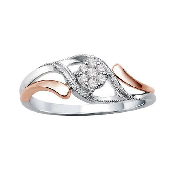 1/14ct tw Diamond Promise Ring in 10K White & Rose Gold