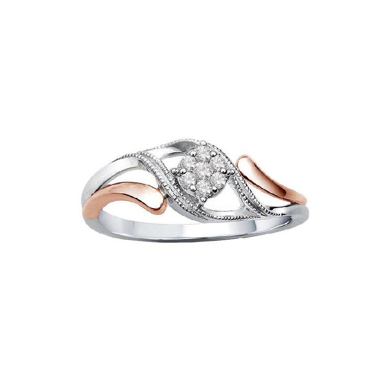 1/14ct tw Diamond Promise Ring in 10K White & Rose Gold
