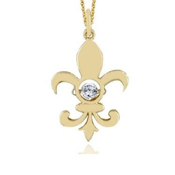 1/8ct tw Diamond Drop of Life Fleur De Lis Necklace in 14K Yellow Gold