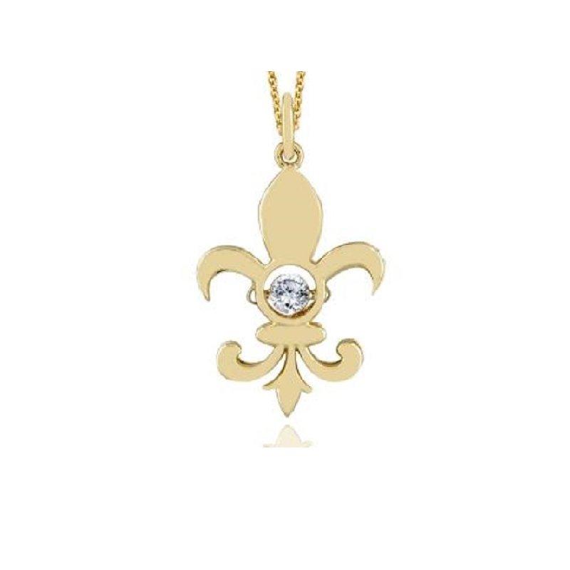 1/8ct tw Diamond Drop of Life Fleur De Lis Necklace in 14K Yellow Gold