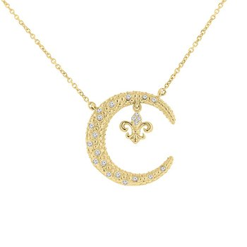 1/8ct tw Diamond Nola Collection Crescent Moon & Fleur De Lis Necklace in 10K Yellow Gold