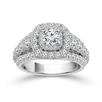 2ct tw Diamond WOW Engagement Ring in 14K White Gold