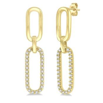 1/8ct tw Diamond Paper Clip Earrings in 14K Yellow Gold