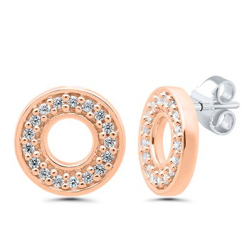 1/10ct tw Diamond Circle Stud Earrings in 10K Rose Gold