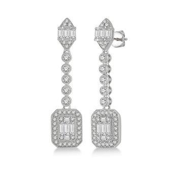 1 3/4ct tw Diamond Halo Fashion Earrings in 14K White Gold