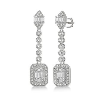 1 3/4ct tw Diamond Halo Fashion Earrings in 14K White Gold