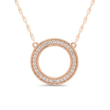 1/10ct tw Diamond Circle Necklace in 10K Rose Gold
