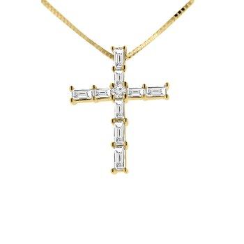 3/8ct tw Diamond Cross Necklace in 14K Yellow Gold