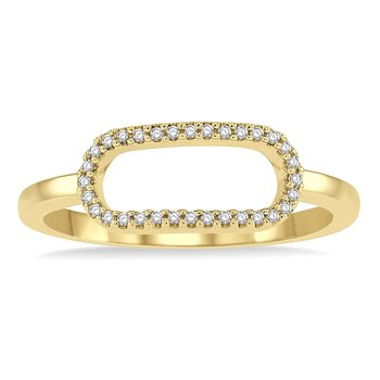 1/10ct tw Diamond Paper Clip Fashion Ring in 14K Yellow Gold