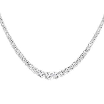 18 3/4ct tw NewBorn Lab Created Diamond Riviera Necklace in 14K White Gold