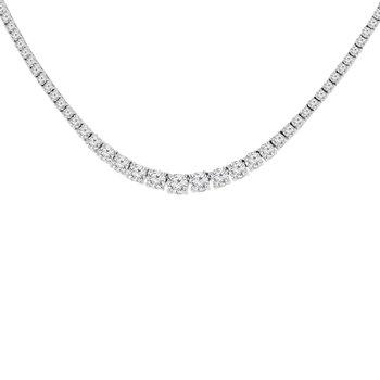 14 1/2ct tw NewBorn Lab Created Diamond Riviera Necklace in 14K White Gold