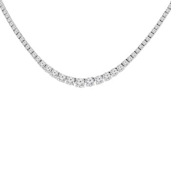 14 1/2ct tw NewBorn Lab Created Diamond Riviera Necklace in 14K White Gold
