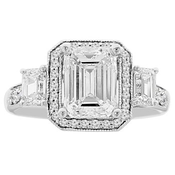 2 3/4ct tw Diamond Halo Engagement Ring in 18K White Gold