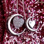 .01ct tw Diamond Moon & Back Necklace in Sterling Silver