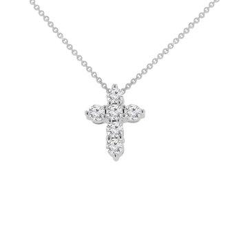 3/4ct tw NewBorn Lab Created Diamond Cross Necklace in 14K White Gold