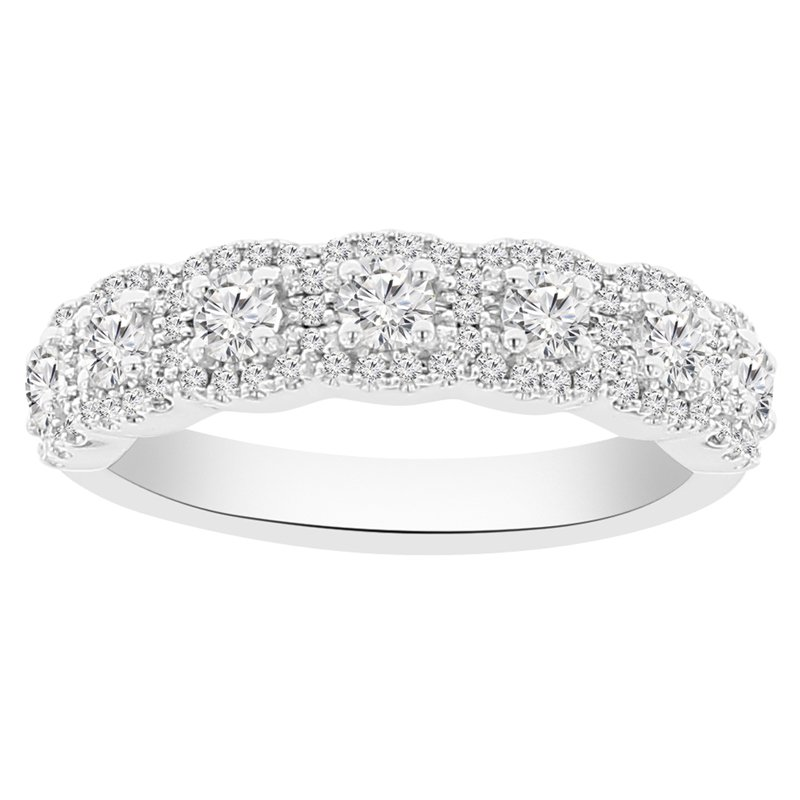 1ct tw Diamond Stackable Halo Ring in 14K White Gold