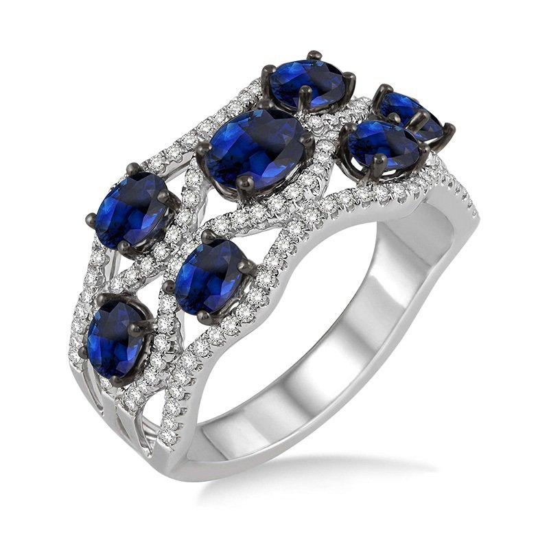 1/2ct tw Diamond & Blue Sapphire Fashion Ring in 18K White Gold