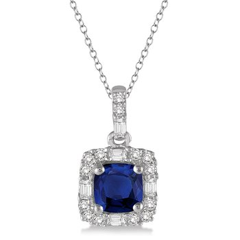 1/5ct tw Diamond & Blue Sapphire Halo Pendant in 14K White Gold