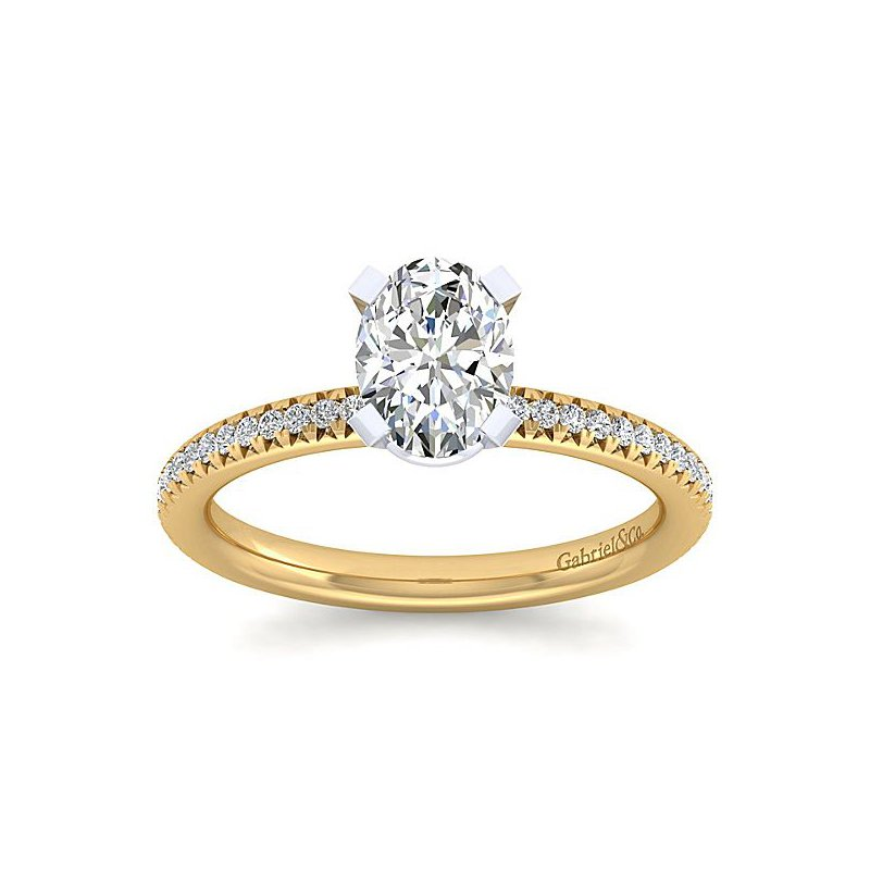 1/8ct tw Diamond Engagement Ring Setting in 14K Yellow Gold