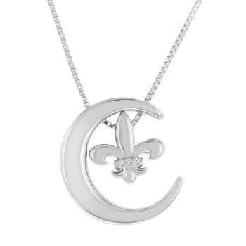 .005ct tw Diamond Moon & Back Fleur De Lis Pendant in Sterling Silver