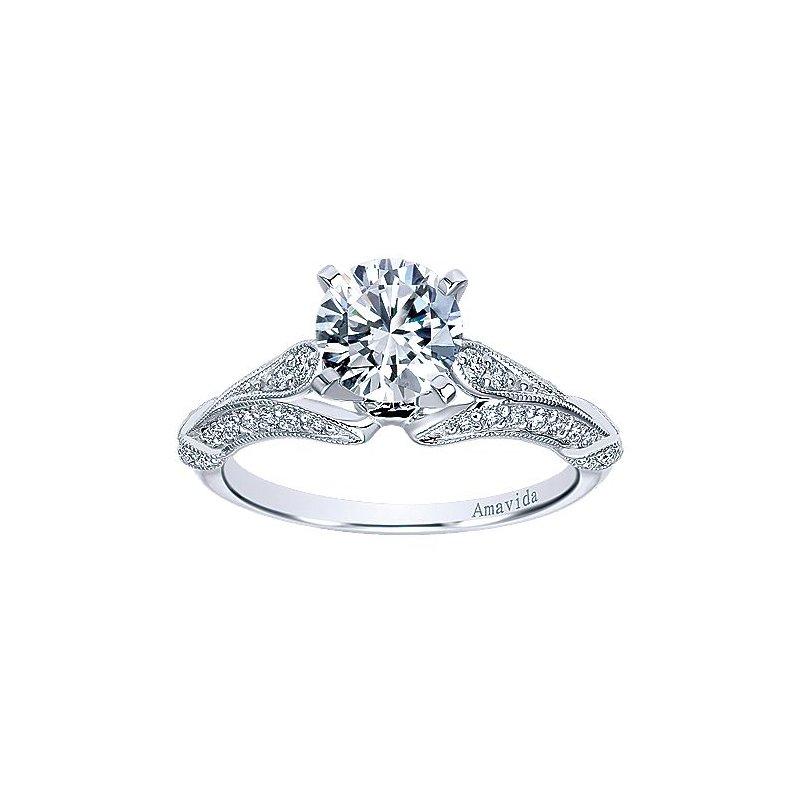 1/3ct tw Diamond Engagement Ring Setting in 18K White Gold