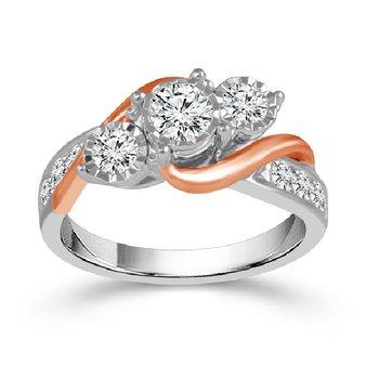 1/2ct tw Diamond Three Stone Engagement Ring in 10K Rose & White Gold.