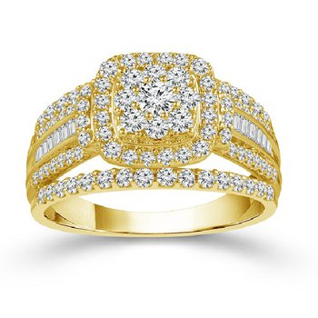 1ct tw Diamond Thousand Points of Light Engagement Ring in 10K Yellow Gold