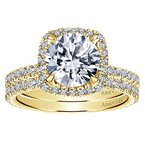 1/2ct tw Diamond Halo Engagement Ring Setting in 18K Yellow Gold