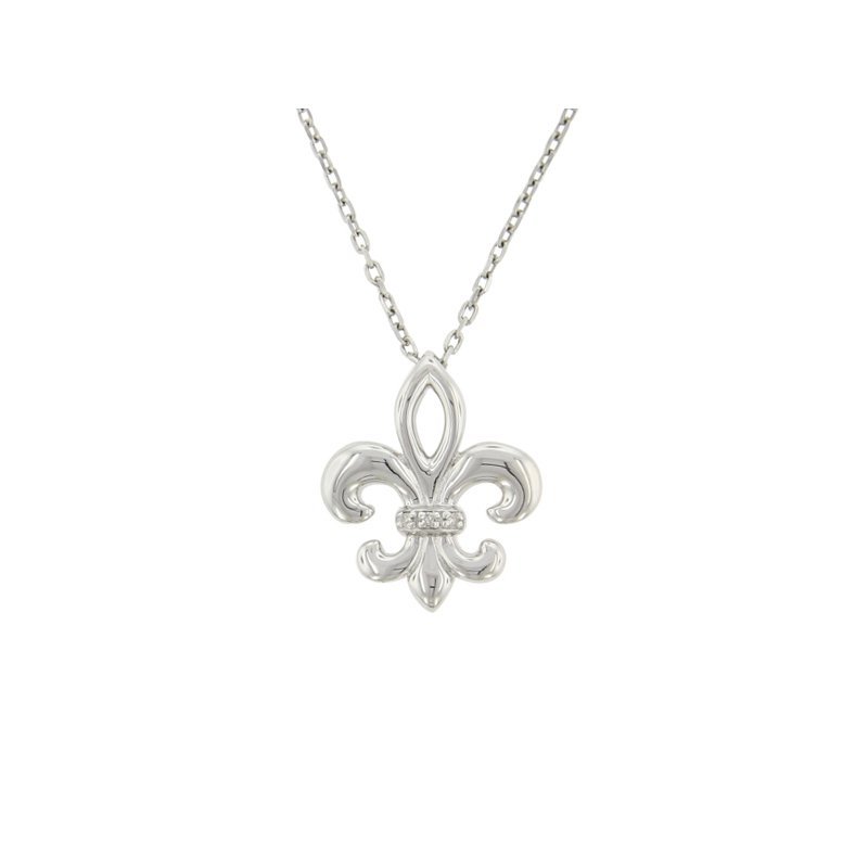 .01ct tw Diamond Fleur De Lis Necklace in Sterling Silver