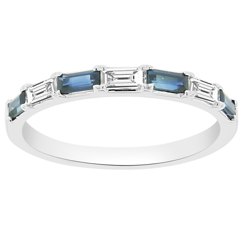 5/8ct tw Diamond & Blue Sapphire Stackable Ring in 14K White Gold