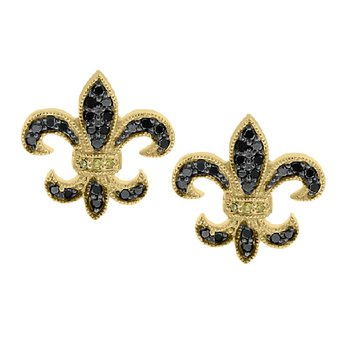 1/4ct tw Diamond Fleur De Lis Stud Earrings in 14K Yellow Gold