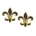 1/4ct tw Diamond Fleur De Lis Stud Earrings in 14K Yellow Gold