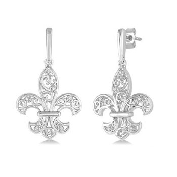 .05ct tw Diamond Fleur De Lis Earrings in Sterling Silver