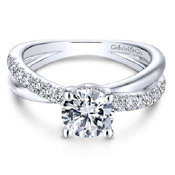 1/3ct tw Diamond Engagement Ring Setting in 14K White Gold